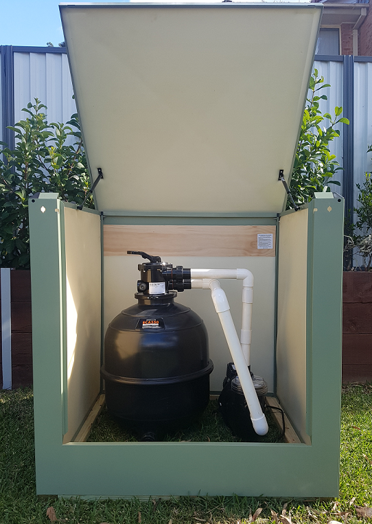medium pool pump box in eucalyptus