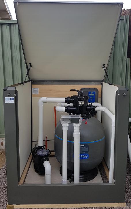 medium pool filter box enclosure in slate grey