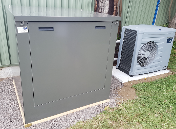 medium pool filter box enclosure in slate grey with heater